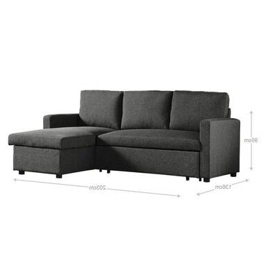 Recent Liberty Sectional Futon Sofas With Storage With Merton 3 Seater Corner Storage Futon Sofa Bed – Tweed (View 4 of 10)