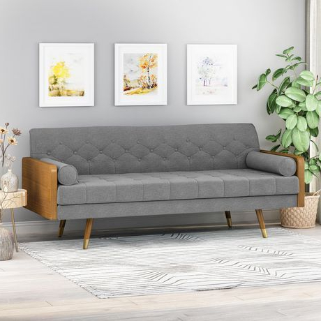 Recent Ludovic Contemporary Sofas Light Gray With Jalon Mid Century Modern Tufted Fabric Sofa, Gray (View 2 of 10)