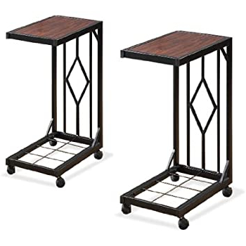 Recent Modern Mobile Rolling Tv Stands With Metal Shelf Black Finish Intended For Amazon: Two Wood Veneer Tv Dinner Snack Tea Tray (View 7 of 10)