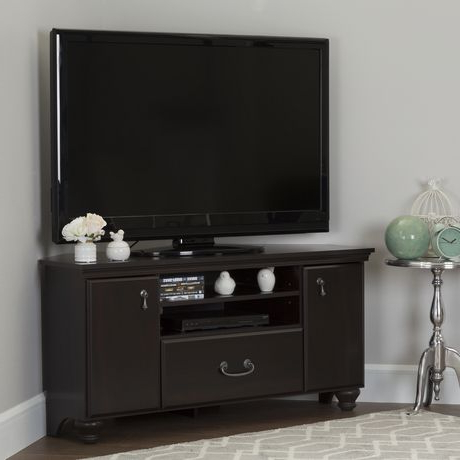 """Recent South Shore Noble Corner Tv Stand For Tv's Up To 60 Inches With Glass Shelves Tv Stands For Tvs Up To 60"""" (View 8 of 10)"""