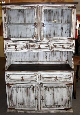 Rustic Country Tv Stands In Weathered Pine Finish Pertaining To Favorite Rustic China Hutch In White Distressed Paint Finish – For (View 9 of 10)