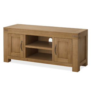 Rustic Country Tv Stands In Weathered Pine Finish Pertaining To Latest Chunky Large Oak Tv Stand Unit 125cm Solid Wood Rustic (View 2 of 10)