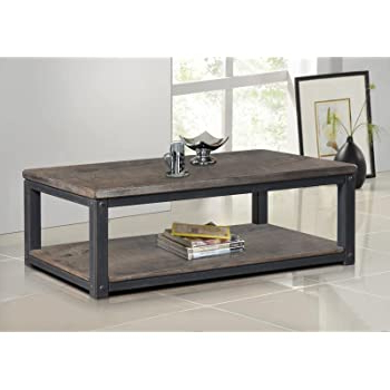 Rustic Country Tv Stands In Weathered Pine Finish Throughout Most Up To Date Amazon: Rustic Coffee Table Industrial Entertainment (View 8 of 10)