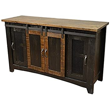 """Rustic Country Tv Stands In Weathered Pine Finish With Regard To Well Liked Amazon: Anton Black Finish 80"""" Rustic Sliding Barn (View 4 of 10)"""