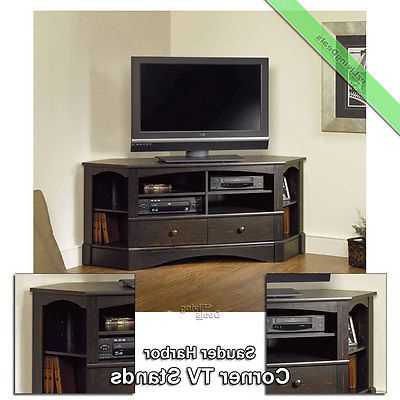"""Sauder Corner Tv Stand 60 034 Console Table Stands For With Well Liked Corner Tv Stands For Tvs Up To 60"""" (View 4 of 10)"""