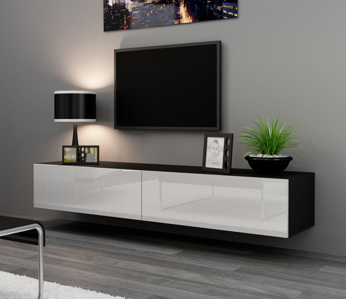 Seattle 24 – Modern Tv Wall Unit / Tall Tv Stands For Flat Pertaining To Well Known Modern Black Tv Stands On Wheels (View 7 of 10)