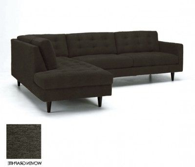 Sectional For 2pc Connel Modern Chaise Sectional Sofas Black (View 3 of 10)