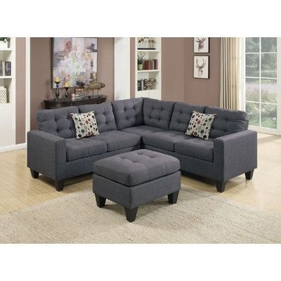 Sectional Sofa And Ottoman Set Color: Graywayfair For Most Recent 3pc Polyfiber Sectional Sofas With Nail Head Trim Blue/gray (View 2 of 10)