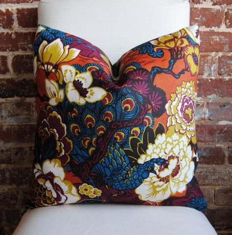 Shanghai Peacock In Cinnabar – Pillow Cover – 20 In Square With Recent Magnolia Sectional Sofas With Pillows (View 3 of 10)
