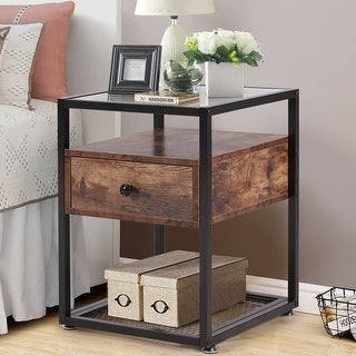 Shop Corey 1 Drawer Rustic Brown End Tableinspire Q For Newest Industrial Tv Stands With Metal Legs Rustic Brown (View 2 of 10)