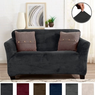 Shop Sure Fit Contrast Cord Duck Natural T Cushion Within Preferred Camila Poly Blend Sectional Sofas Off White (View 7 of 10)