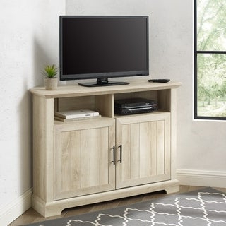 """Shop White 46 Inch Corner Tv Stand & Media Console With Widely Used Rustic Corner 50"""" Solid Wood Tv Stands Gray (View 2 of 10)"""