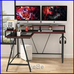 Simple Open Storage Shelf Corner Tv Stands For Best And Newest 2020 L Shaped Desk With Shelf, Corner Computer Gaming Desk (View 8 of 10)