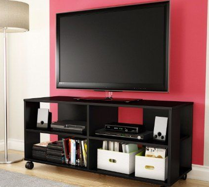 Skb Family Black Tv Stand Storage Cart In Black Finish In Preferred Richmond Tv Unit Stands (View 6 of 10)