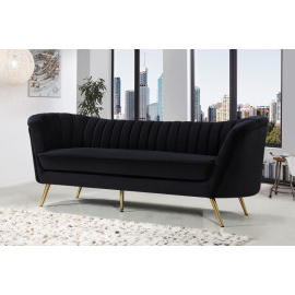 Sofas, Love Seats, Settees, Chaises In Famous 3pc French Seamed Sectional Sofas Velvet Black (View 8 of 10)