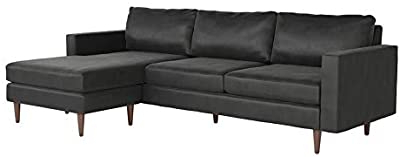 Somerset Velvet Mid Century Modern Right Sectional Sofas Inside Widely Used Amazon: Iconic Home Da Vinci Tufted Silver Trim Navy (View 5 of 10)