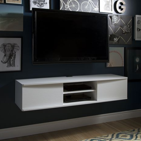 South Shore Agora Wide Wall Mounted Media Console, 56 Inch In Most Recently Released Simple Open Storage Shelf Corner Tv Stands (View 7 of 10)