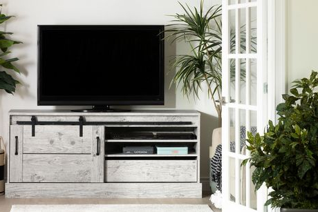 """South Shore Harma Tv Stand For Tvs Up To 75"""" Seaside Pine Throughout Latest Chrissy Tv Stands For Tvs Up To 75"""" (View 4 of 10)"""