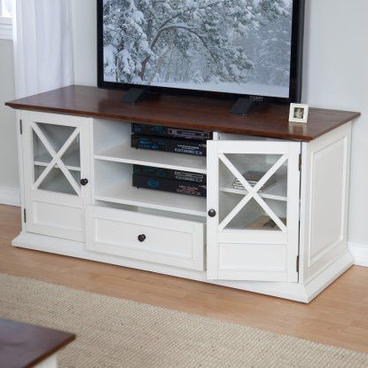 """Spellman Tv Stands For Tvs Up To 55"""" For Latest Belham Living Hampton Tv Stand – White/oak (View 1 of 10)"""
