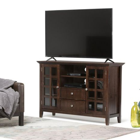 """Spellman Tv Stands For Tvs Up To 55"""" With Famous Normandy Solid Wood 53 Inch Wide Rustic Tv Media Stand In (View 2 of 10)"""