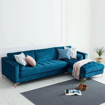 Strummer Velvet Sectional Sofas With Widely Used Levi Blue Velvet Corner Sectional Sofa – 120 Inches Left (View 1 of 10)
