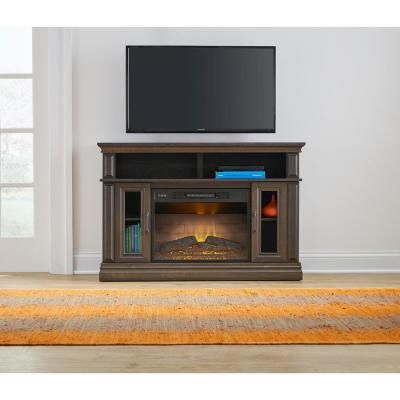 Stylewell Flint Mill 48in Media Console Electric Fireplace In Widely Used Fireplace Media Console Tv Stands With Weathered Finish (View 2 of 10)