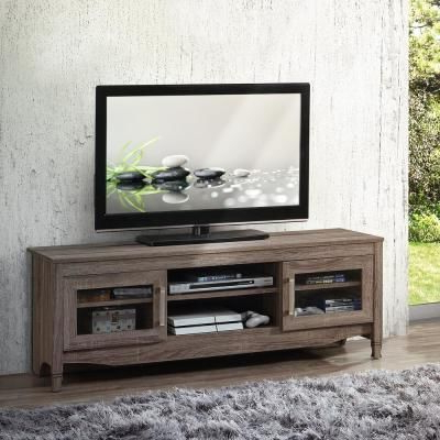 """Techni Mobili Gray Driftwood With Shelving And Storage For Best And Newest Techni Mobili 53"""" Driftwood Tv Stands In Grey (View 6 of 10)"""