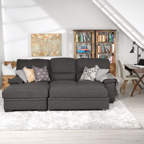 Tessaro Chaise Sofa With Pop Up Bed Charcoal – Sofa Design In Preferred Hugo Chenille Upholstered Storage Sectional Futon Sofas (View 1 of 10)