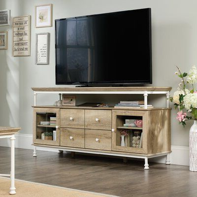 """Three Posts Oakside Tv Stand For Tvs Up To 60"""" Color In Preferred 60"""" Corner Tv Stands Washed Oak (View 6 of 10)"""