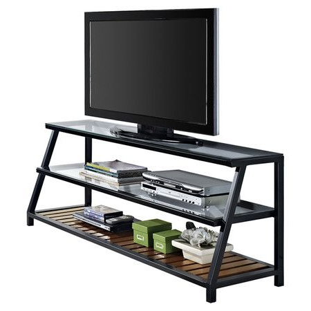 Three Tier Media Console With Tempered Glass Shelves Inside Well Known Glass Shelf With Tv Stands (View 1 of 10)