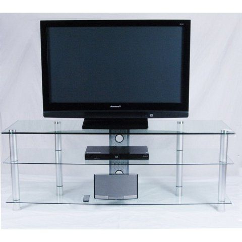 Tier Entertainment Tv Stands In Black Regarding Trendy Tier One Designs Clear Glass And Aluminum Tv Stand With (View 9 of 10)