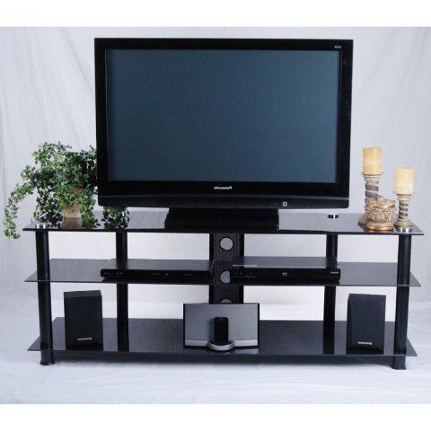 Tier One Designs Black Glass And Aluminum Tv Stand With Throughout Well Liked Dillon Black Tv Unit Stands (View 1 of 10)
