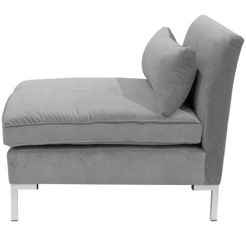 Trendy Alexis Armless Chair With Silver Metal Y Legs – Cloth With Regard To 4pc Alexis Sectional Sofas With Silver Metal Y Legs (View 9 of 10)