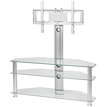 """Trendy Clear Glass Cantilever Tv Stand For 32 Inch To 65 Inch Within Whalen Furniture Black Tv Stands For 65"""" Flat Panel Tvs With Tempered Glass Shelves (View 3 of 10)"""