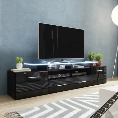 Trendy Greenwich Wide Tv Stands Regarding Bmf Evora Black Tv Stand 194cm Wide Black High Gloss Led (View 5 of 10)