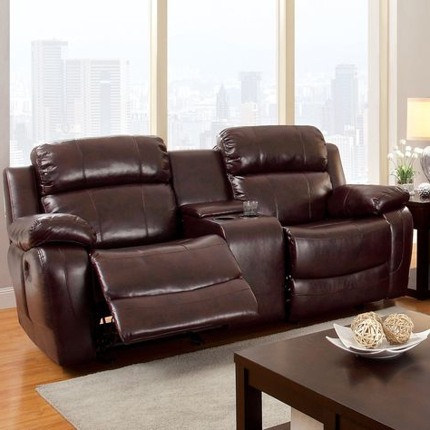 Trendy Hokku Designs Walfred Reclining Loveseat (with Images With Bonded Leather All In One Sectional Sofas With Ottoman And 2 Pillows Brown (View 7 of 10)