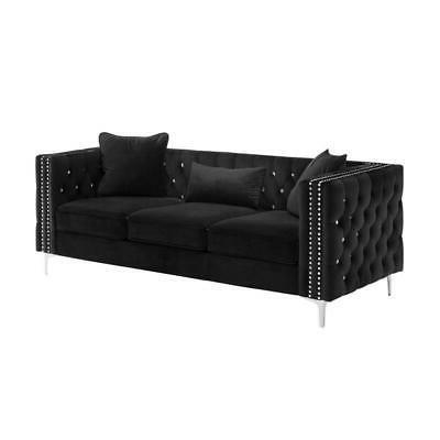 Trendy Lilola Lorreto Black Velvet Sofa  (View 5 of 10)