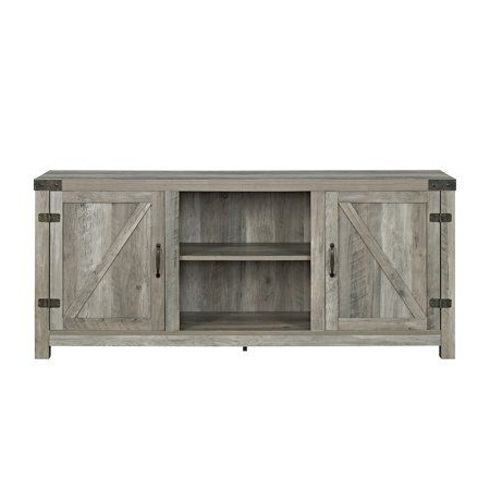 """Trendy Woven Paths Farmhouse Barn Door Tv Stands In Multiple Finishes Regarding 58"""" Barn Door Tv Stand With Side Doors For Tvs Up To  (View 1 of 10)"""