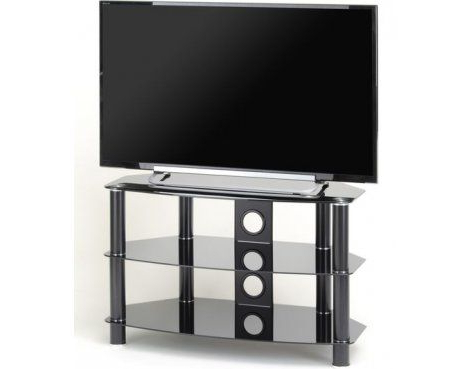 Ttap Vantage 1050 Black Glass Tv Stand For Up To 50 Inside Trendy Conrad Metal/glass Corner Tv Stands (View 8 of 10)