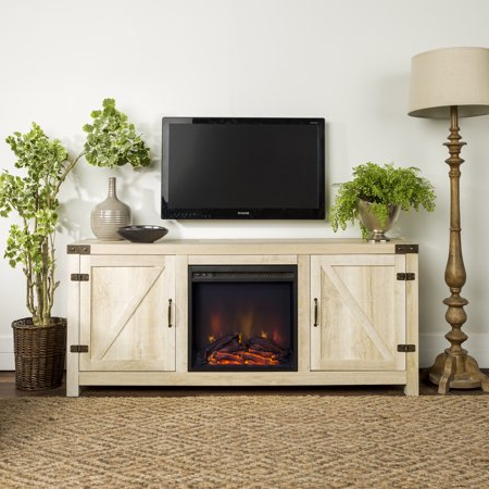"""Tv Mount And Tv Stands For Tvs Up To 65"""" Regarding Well Liked 58"""" Barn Door Farmhouse Fireplace Tv Stand For Tvs Up To (View 3 of 10)"""