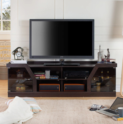 """Tv Stand Entertainment Center Credenza Console 70 Inch Intended For Well Known Glass Shelves Tv Stands For Tvs Up To 65"""" (View 4 of 10)"""
