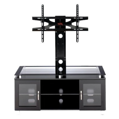 Tv Stand With Bracket, Tv Stand, Flat For Well Known Tv Stands Fwith Tv Mount Silver/black (View 5 of 10)