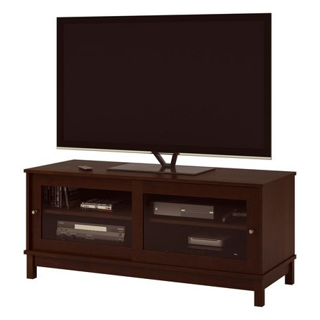 """Tv Stand With Sliding Glass Doors For Tvs Up To 55"""", Dark Intended For Popular Glass Shelves Tv Stands For Tvs Up To 50"""" (View 5 of 10)"""