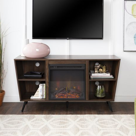 Tv Stands With Led Lights In Multiple Finishes In Recent Manor Park Mid Century Modern Hairpin Fireplace Tv Stand (View 1 of 10)