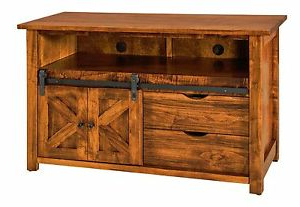 Tv Stands With Sliding Barn Door Console In Rustic Oak Throughout Preferred Amish Rustic Tv Stand Cabinet Solid Wood Barn Door Sliding (View 7 of 10)