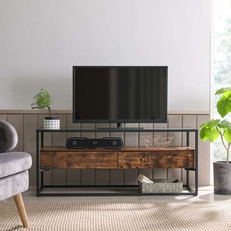 """Vasagle Tv Cabinet For Up To 55 Inch Tvs, Tv Console With With Well Known Glass Shelves Tv Stands For Tvs Up To 65"""" (View 7 of 10)"""