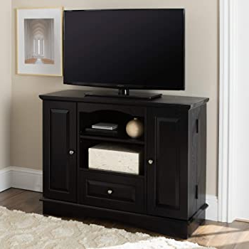 """Vasari Corner Flat Panel Tv Stands For Tvs Up To 48"""" Black Inside Famous Amazon: Walker Edison Tall Traditional Wood Universal (View 9 of 10)"""