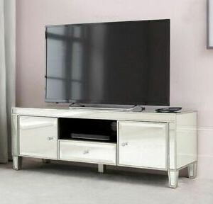 Venetian Mirrored Tv Stand Drawer Media Storage Unit Door Throughout Most Current Loren Mirrored Wide Tv Unit Stands (View 8 of 10)