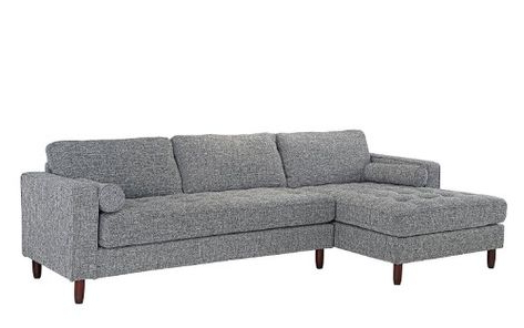 Verona Mid Century Reversible Sectional Sofas Throughout Well Liked Mid Century Modern Tufted Fabric Sectional Sofa, L Shape (View 7 of 10)