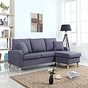 Verona Mid Century Reversible Sectional Sofas Within Recent Amazon: Mid Century Modern Linen Fabric Small Space (View 5 of 10)